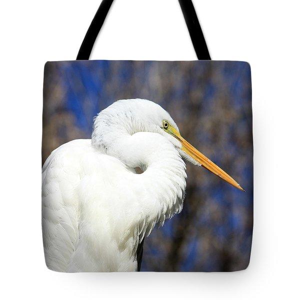 Great Egret Sunning Tote Bag by Dorothy Menera