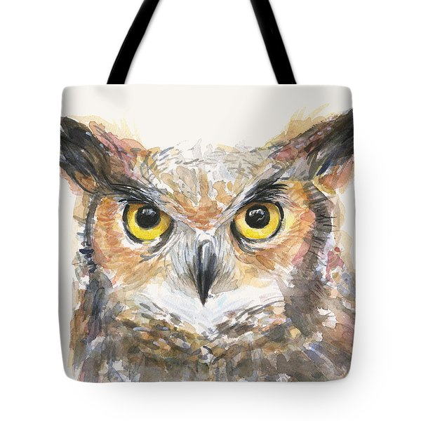 Great Horned Owl Watercolor Tote Bag by Olga Shvartsur