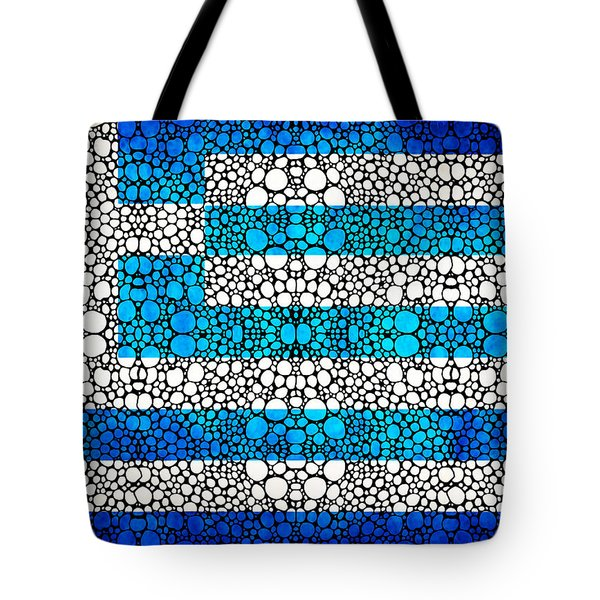 Greek Flag - Greece Stone Rock'd Art By Sharon Cummings Tote Bag by Sharon Cummings