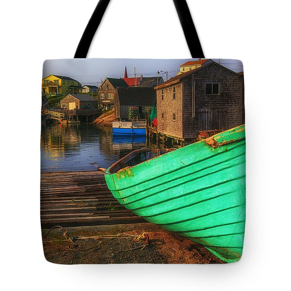 Green boat Peggys Cove Tote Bag by Garry Gay