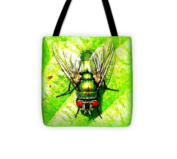 Green Bottle Fly Tote Bag by The Creative Minds Art and Photography