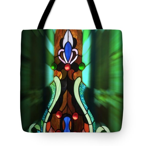 Green Brown Stained Glass Window Tote Bag by Thomas Woolworth