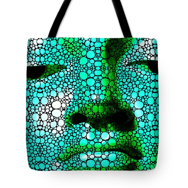Green Buddha - Stone Rock'd Art By Sharon Cummings Tote Bag by Sharon Cummings