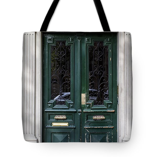 Green Door In Paris Tote Bag by Nomad Art And  Design