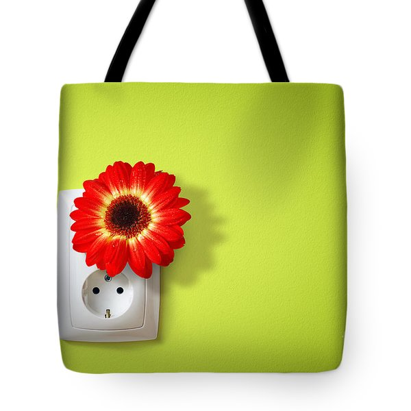 Green Electricity Tote Bag by Carlos Caetano