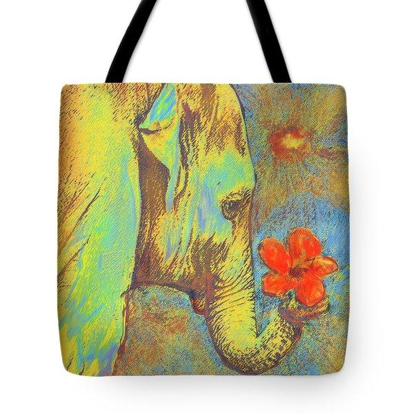 green elephant Tote Bag by Jane Schnetlage