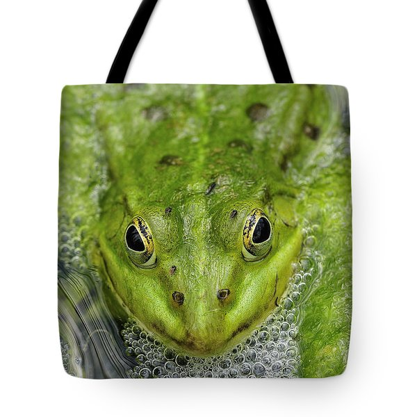Green Frog Tote Bag by Matthias Hauser