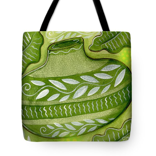 Green Gourd Tote Bag by Elaine Jackson