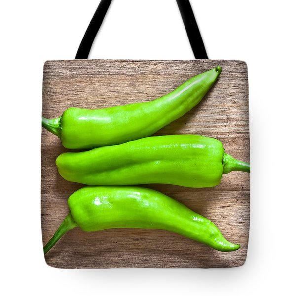 Green Jalapeno Peppers Tote Bag by Tom Gowanlock