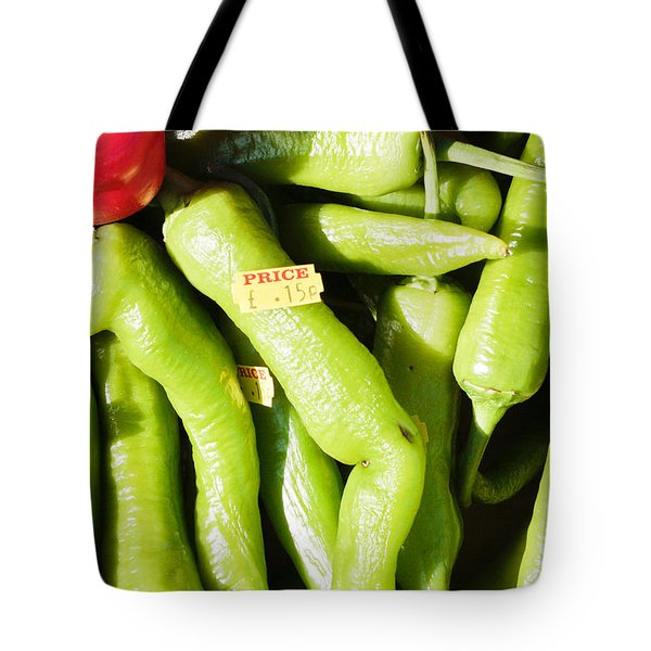 Green Jalpeno Peppers Tote Bag by Tom Gowanlock