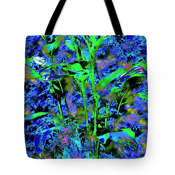 Green Leafy Plant Bathed In Blue Tote Bag by Annie Zeno