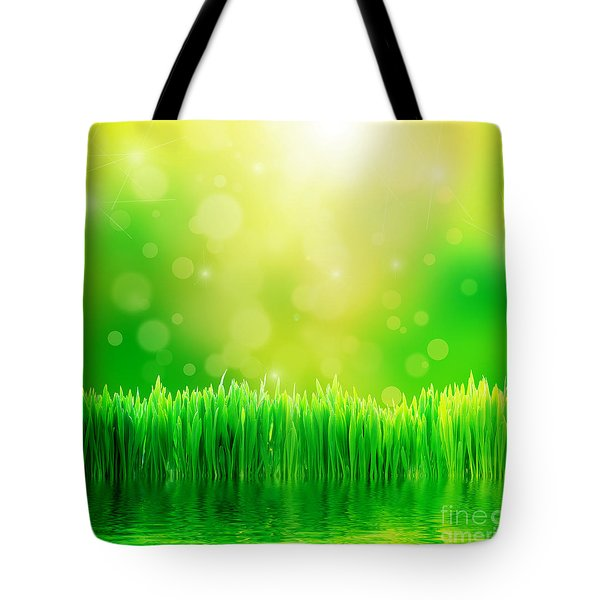 Green Nature Background With Fresh Grass Tote Bag by Michal Bednarek