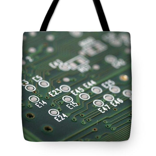 Green printed circuit board closeup Tote Bag by Matthias Hauser