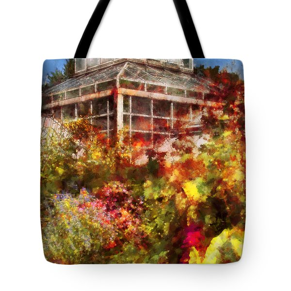 Greenhouse - The Greenhouse and the Garden Tote Bag by Mike Savad