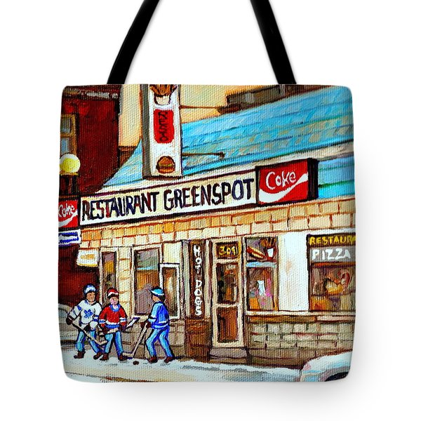 Greenspot Restaurant Notre Dame Street  South West Montreal Paintings Winter Hockey Scenes St. Henri Tote Bag by Carole Spandau