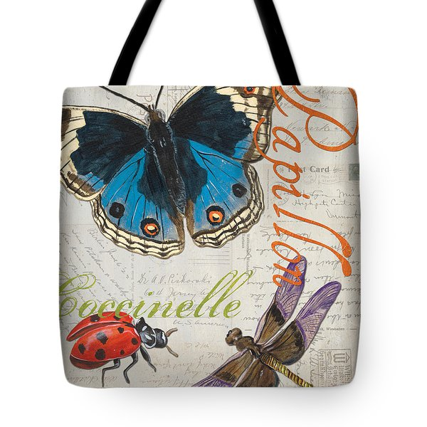 Grey Postcard Butterflies 4 Tote Bag by Debbie DeWitt