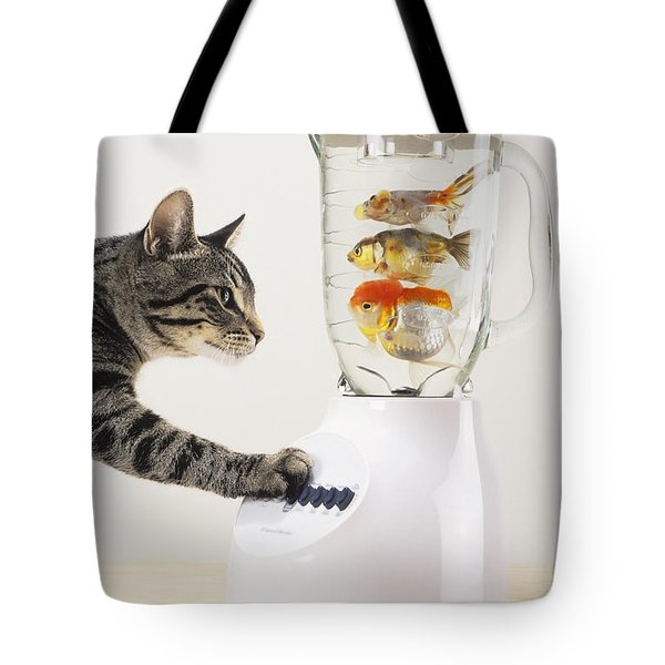 Grey Tabby Cat With Paw On Blender Tote Bag by Thomas Kitchin & Victoria Hurst