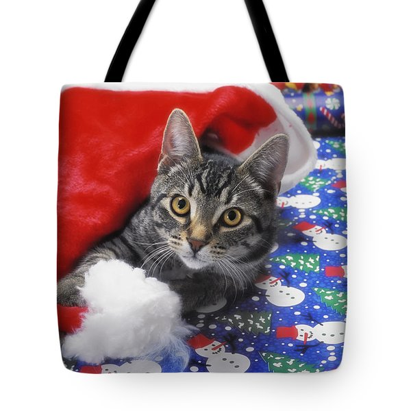 Grey Tabby Cat With Santa Claus Hat Tote Bag by Thomas Kitchin & Victoria Hurst