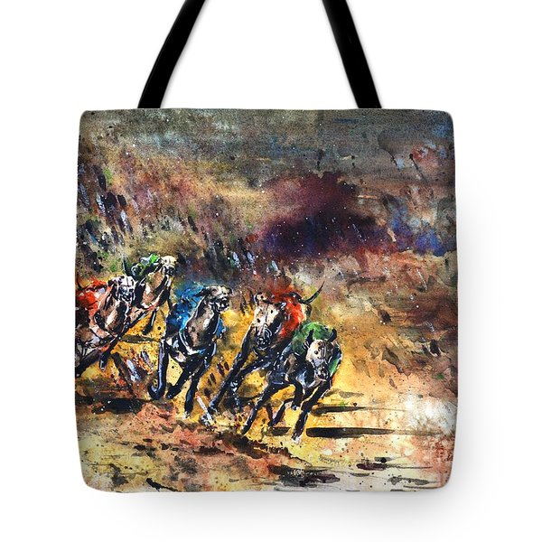 Greyhound Racing Tote Bag by Zaira Dzhaubaeva