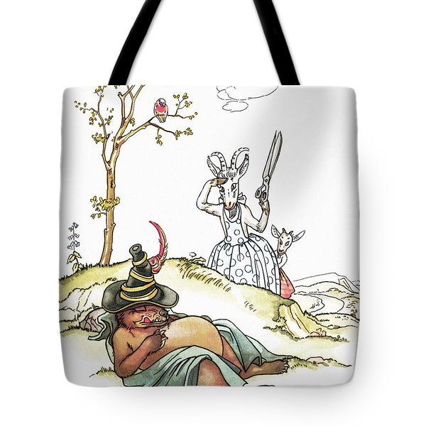 Grimm: Wolf And Seven Kids Tote Bag by Granger