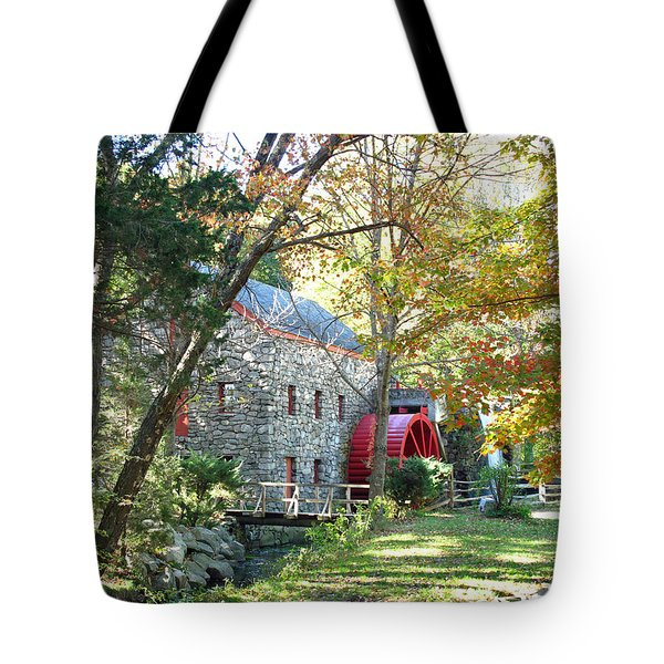 Grist Mill in Fall Tote Bag by Barbara McDevitt