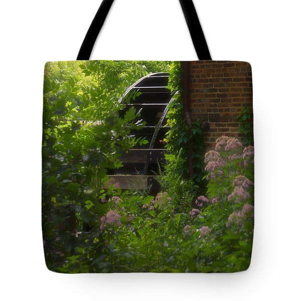 Grist Mill Wheel Vertical Tote Bag by Thomas Woolworth