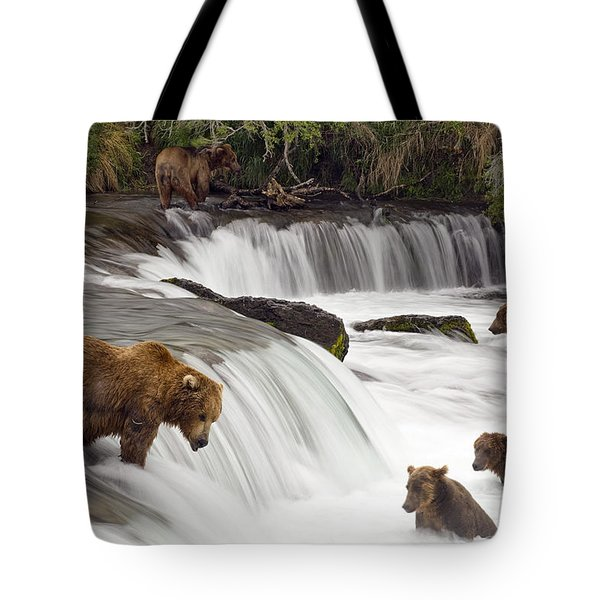 Grizzly Bears Fish At Brooks Falls In Tote Bag by Chris Miller