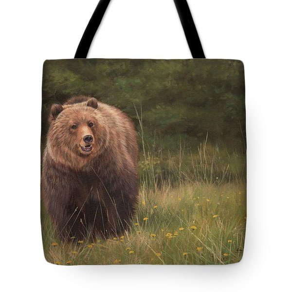 Grizzly Tote Bag by David Stribbling