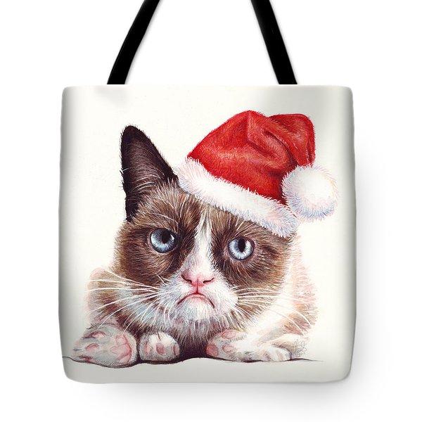 Grumpy Cat as Santa Tote Bag by Olga Shvartsur