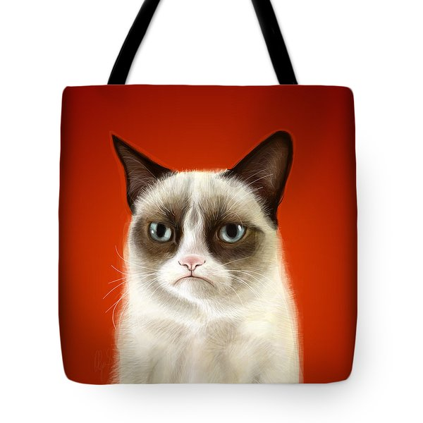 Grumpy Cat Tote Bag by Olga Shvartsur