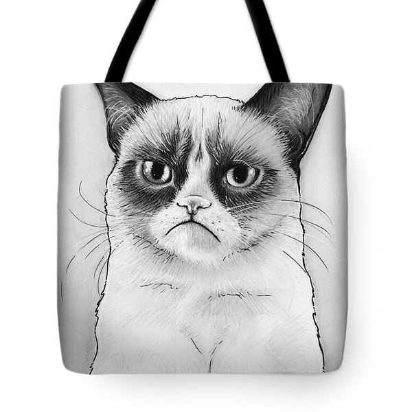 Grumpy Cat Portrait Tote Bag by Olga Shvartsur