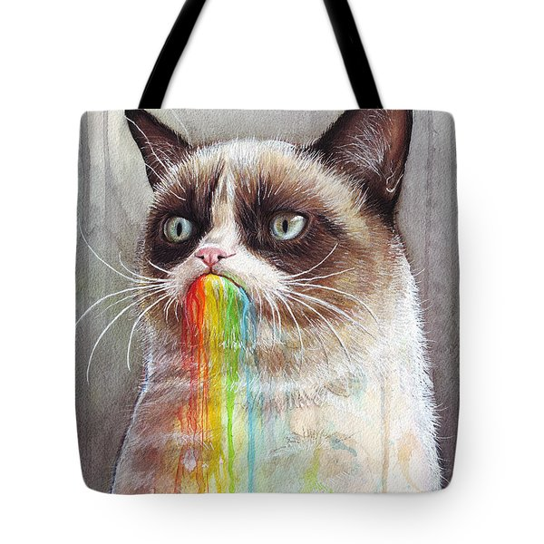 Grumpy Cat Tastes The Rainbow Tote Bag by Olga Shvartsur
