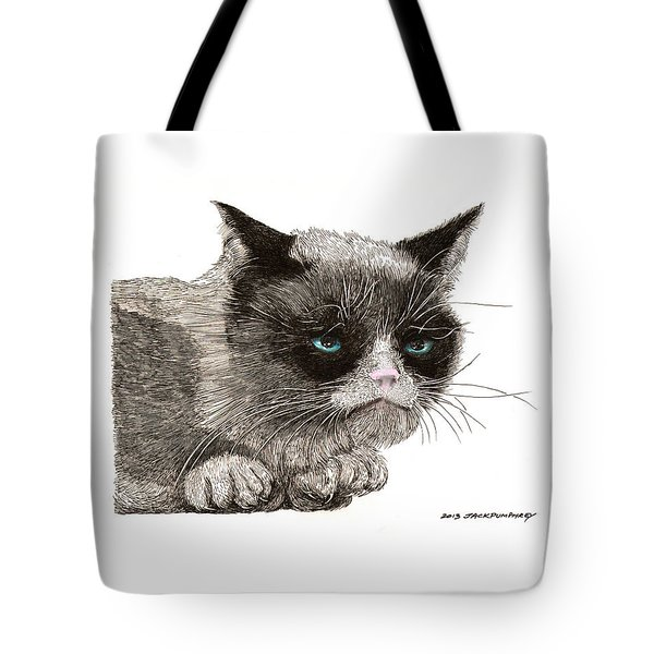 GRUMPY PUSSY CAT Tote Bag by Jack Pumphrey