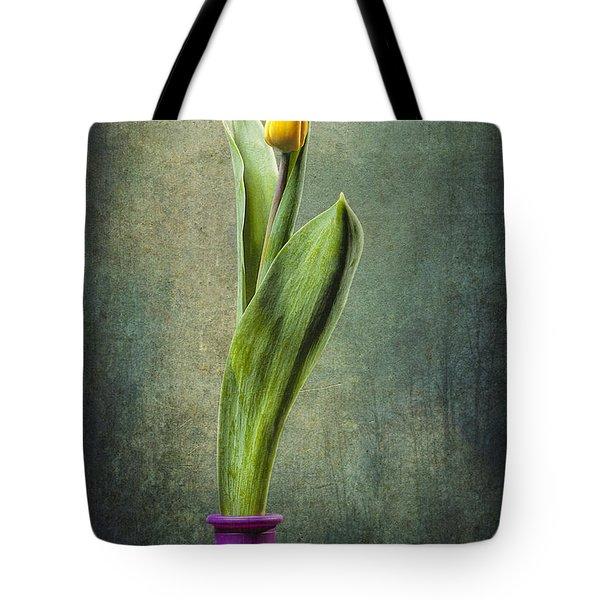 Grunge Yellow Tulip Tote Bag by Erik Brede