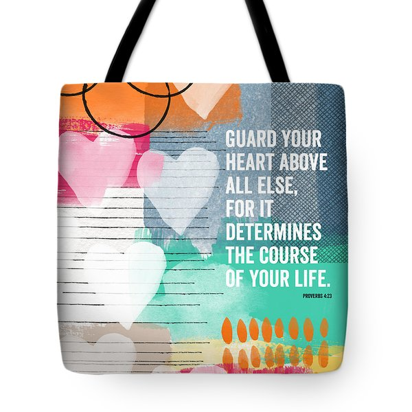 Guard Your Heart- Contemporary Scripture Art Tote Bag by Linda Woods