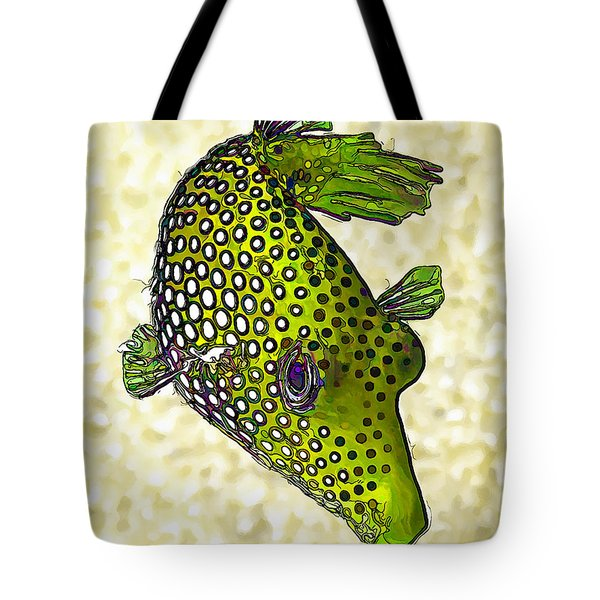 Guinea Fowl Puffer Fish in Green Tote Bag by Bill Caldwell -        ABeautifulSky Photography