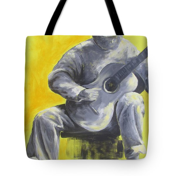 Guitar Man In Shades Of Grey Tote Bag by Susan Richardson
