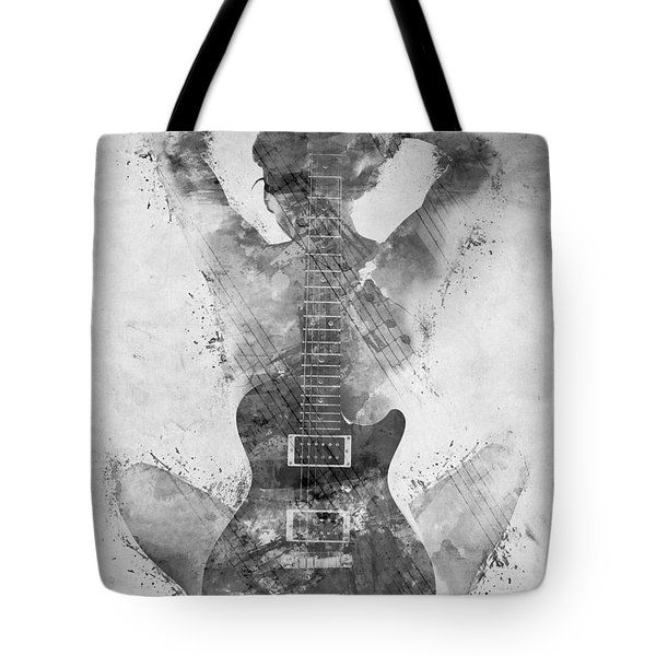 Guitar Siren in Black and White Tote Bag by Nikki Smith