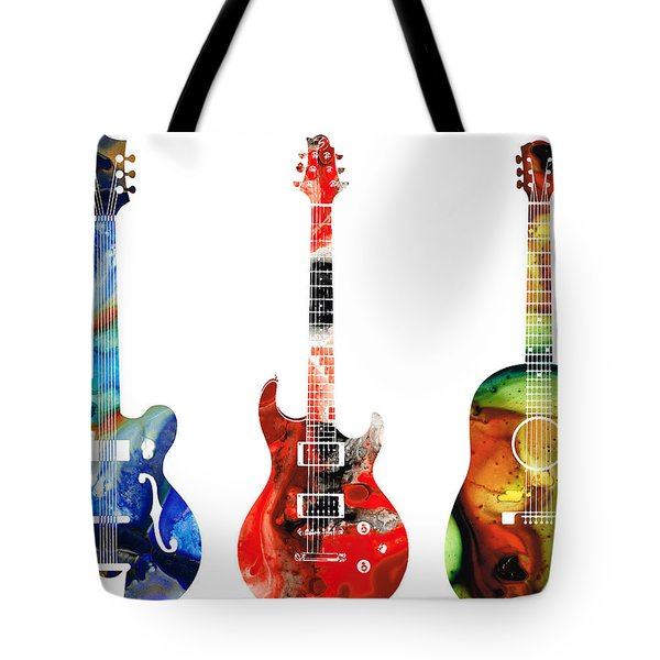 Guitar Threesome - Colorful Guitars By Sharon Cummings Tote Bag by Sharon Cummings