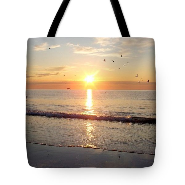 Gulls Dance In The Warmth Of The New Day Tote Bag by Eunice Miller
