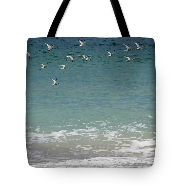Gulls Flying Over The Ocean Tote Bag by Zina Stromberg