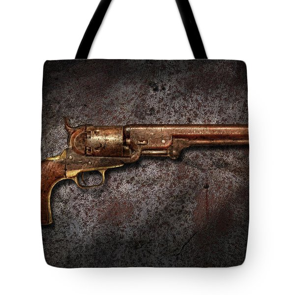 Gun - Colt Model 1851 - 36 Caliber Revolver Tote Bag by Mike Savad