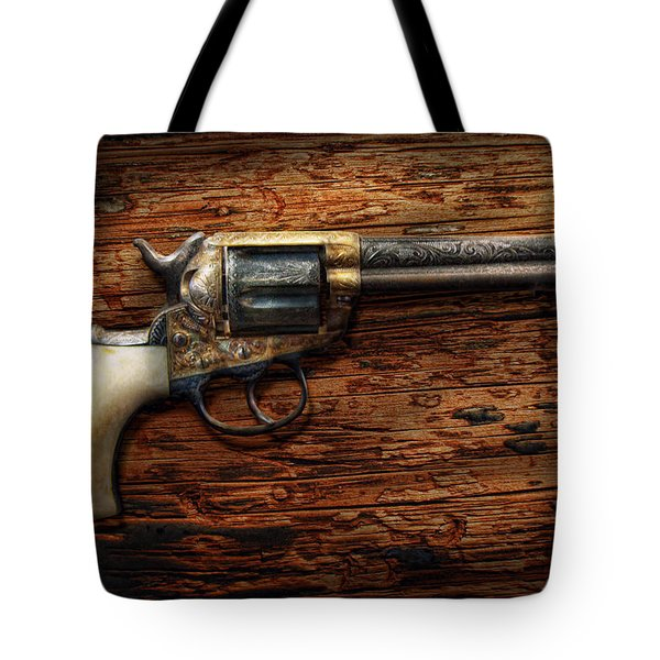 Gun - Police - True Grit Tote Bag by Mike Savad