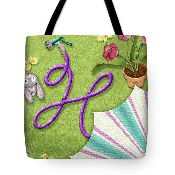 H Is For Garden Hose  Tote Bag by Valerie   Drake Lesiak