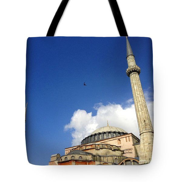 Hagia Sophia With Two Minarets Istanbul Turkey Tote Bag by Ralph A  Ledergerber-Photography