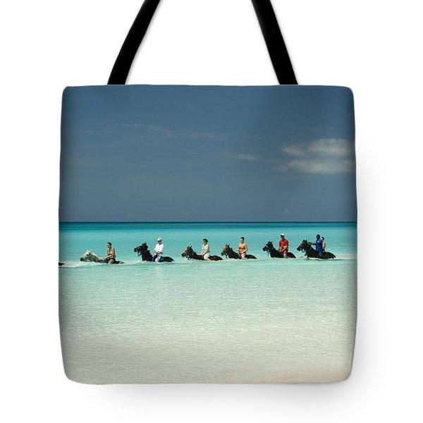 Half Moon Cay Bahamas Beach Scene Tote Bag by David Smith