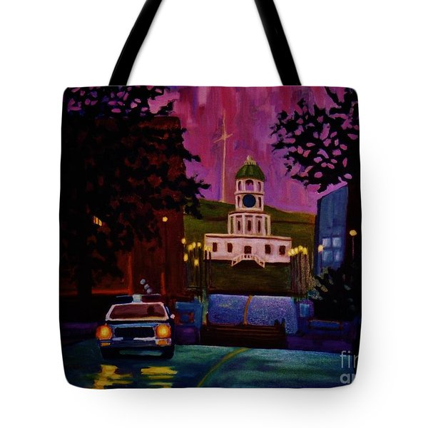 Halifax Night Patrol And Town Clock Tote Bag by John Malone