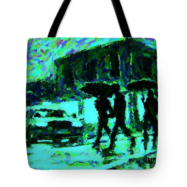 Halifax On A Rainy Night Tote Bag by Halifax Artist John Malone