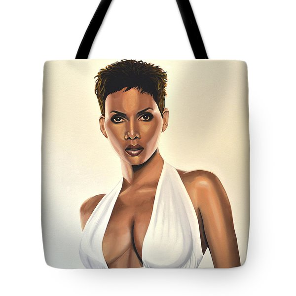 Halle Berry Painting Tote Bag by Paul Meijering