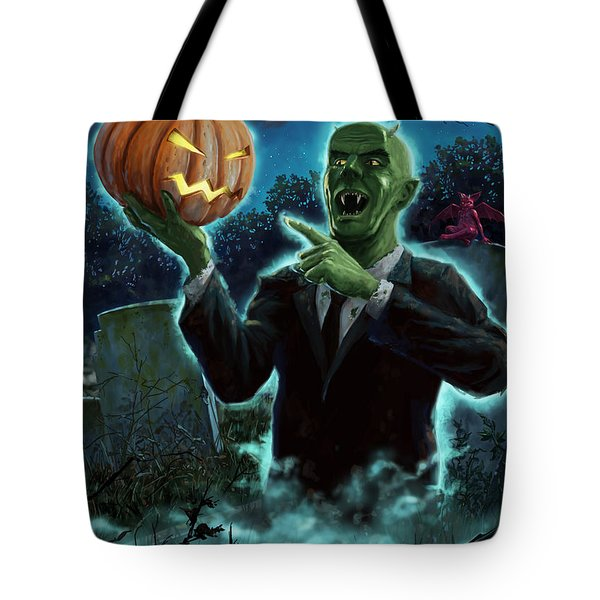 Halloween Ghoul rising from Grave with pumpkin Tote Bag by Martin Davey